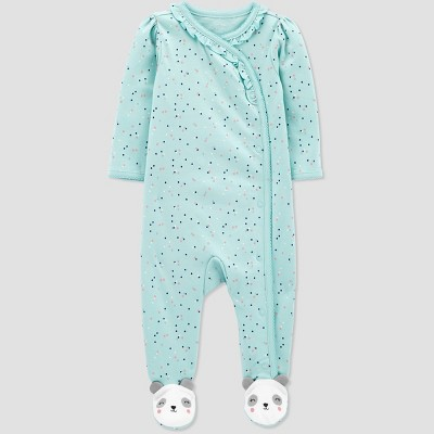 Baby Girls' Panda Interlock One Piece Pajama - Just One You® made by carter's Mint Newborn