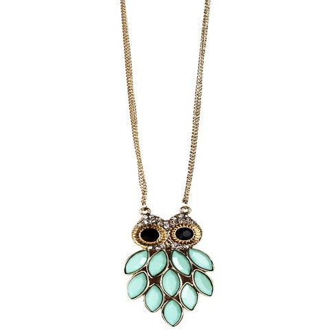 "Owl Pendent Long Necklace - Turquoise/Gold (26"") - image 1 of 1"