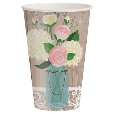 Rustic Wedding 12 oz Cups, 8 pk