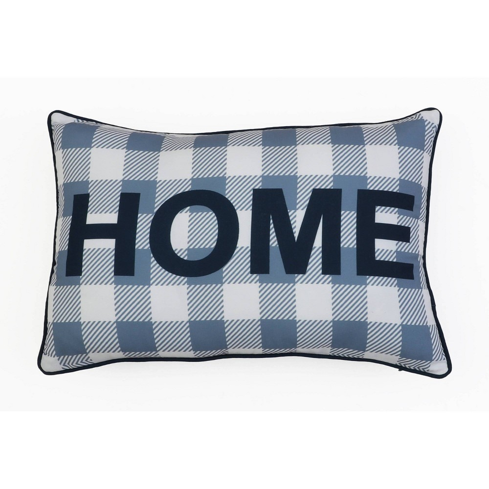"Image of ""14""""X20"""" Heidi Home Applique Pillow Navy - Decor Therapy"""