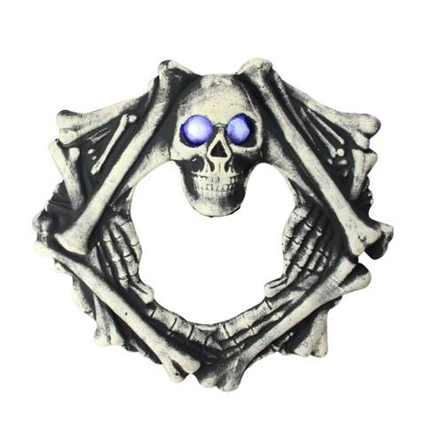 "Northlight 18.5"" Prelit Eyes in Skull Head and Skeletal Body Wreath Halloween Decoration - Black/Ivory - image 1 of 2"