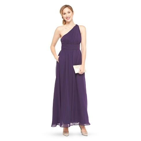 Women\'s Plus Size Chiffon One Shoulder Maxi Bridesmaid Dress Deep Plum 18W  - TEVOLIO