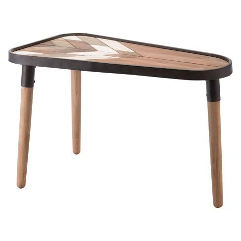 "20"" Rustic Triangular Steel and Wood Accent Table - Brown - ZM Home - image 1 of 1"