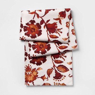 108 X14  Warm Watercolor Floral Table Runner Red - Threshold™