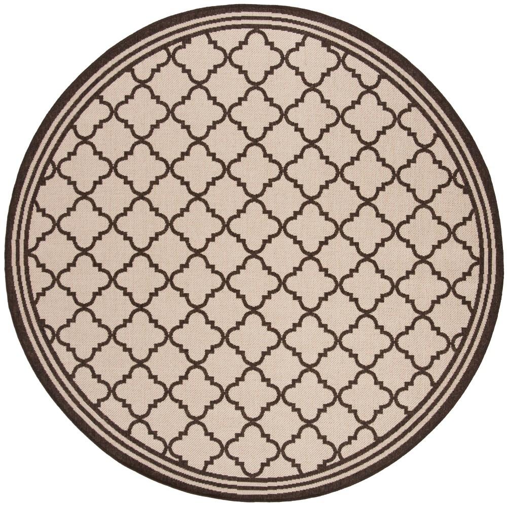 6'7 Quatrefoil Design Loomed Round Area Rug Natural/Brown - Safavieh