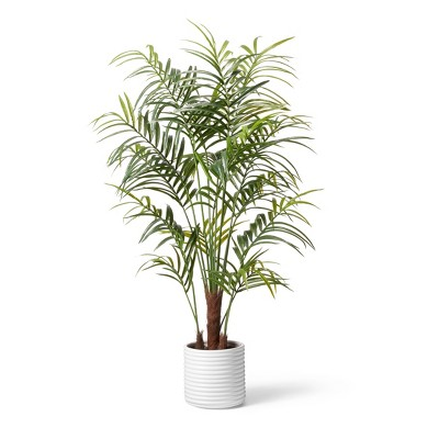 """72"""" Faux Kentia Palm Tree in Ribbed Pot White - Hilton Carter for Target"""