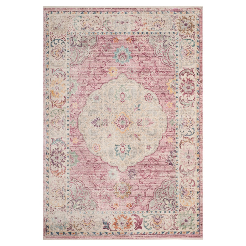 Rose/Cream (Pink/Ivory) Medallion Loomed Accent Rug 4'X6' - Safavieh