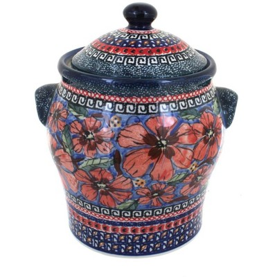 Blue Rose Polish Pottery Jungle Flower Large Canister