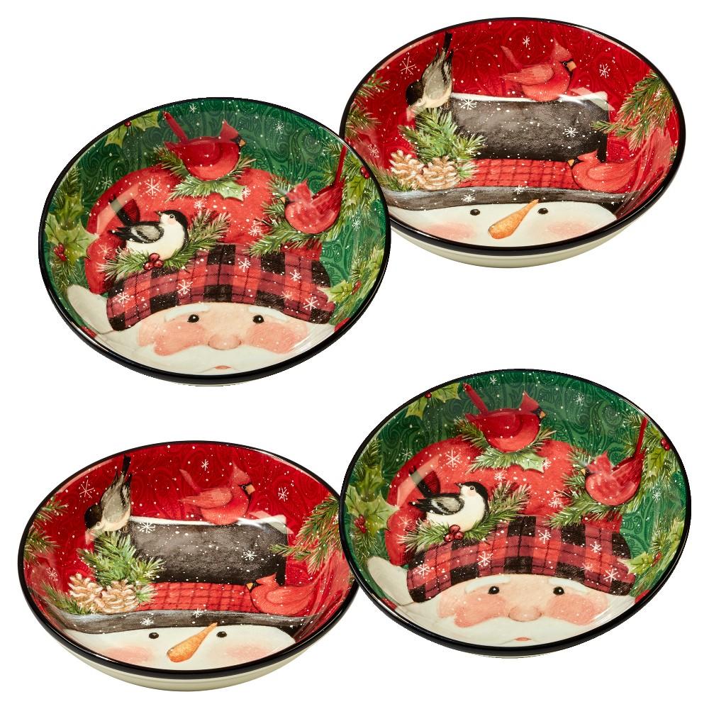 Image of Certified International Winter Plaid Ceramic Pasta Bowls 40oz Red/Green - Set of 4, Red Green Black