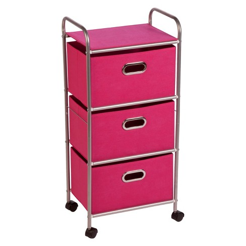 Honey-Can-Do 3-Drawer Rolling Cart - Chrome/Pink - image 1 of 4