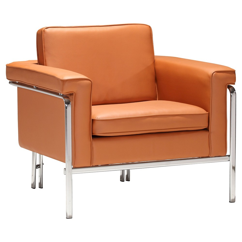 Modern Faux Leather and Chrome Arm Chair - Terracotta - ZM Home
