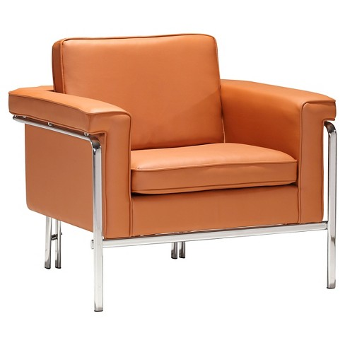 Modern Faux Leather And Chrome Arm Chair Terracotta Zm Home