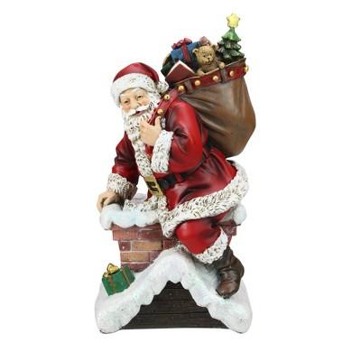 "Napco 11"" Red Santa Going Down The Chimney Christmas Tabletop Figurine"