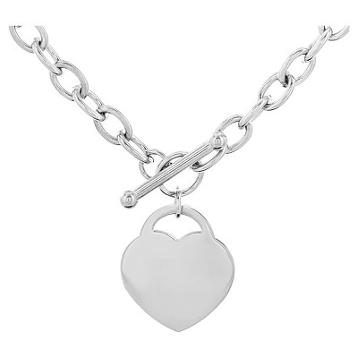 """Women's Stainless Steel Heart Tag Toggle Clasp Necklace (18"""") - West Coast Jewelry"""