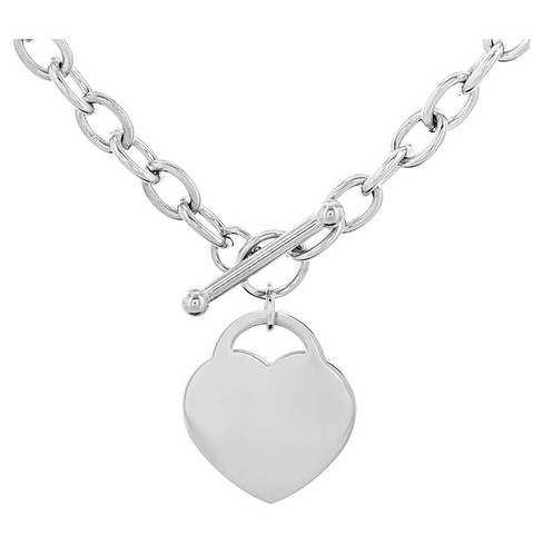 60e322e35ea7 Women s Stainless Steel Heart Tag Toggle Clasp Necklace (18