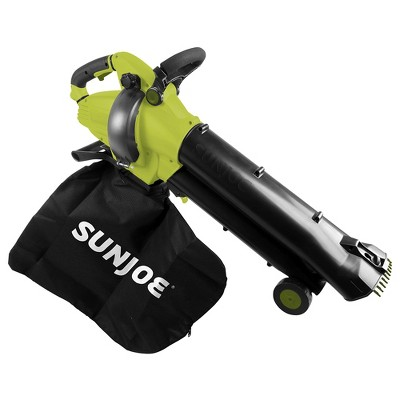 Sun Joe SBJ702E 3-in-1 Outdoor Variable Speed Electric Blower | 180 MPH | 12 Amp | Vacuum | Mulcher | Telescoping Frame | Leaf Grabbing Teeth.