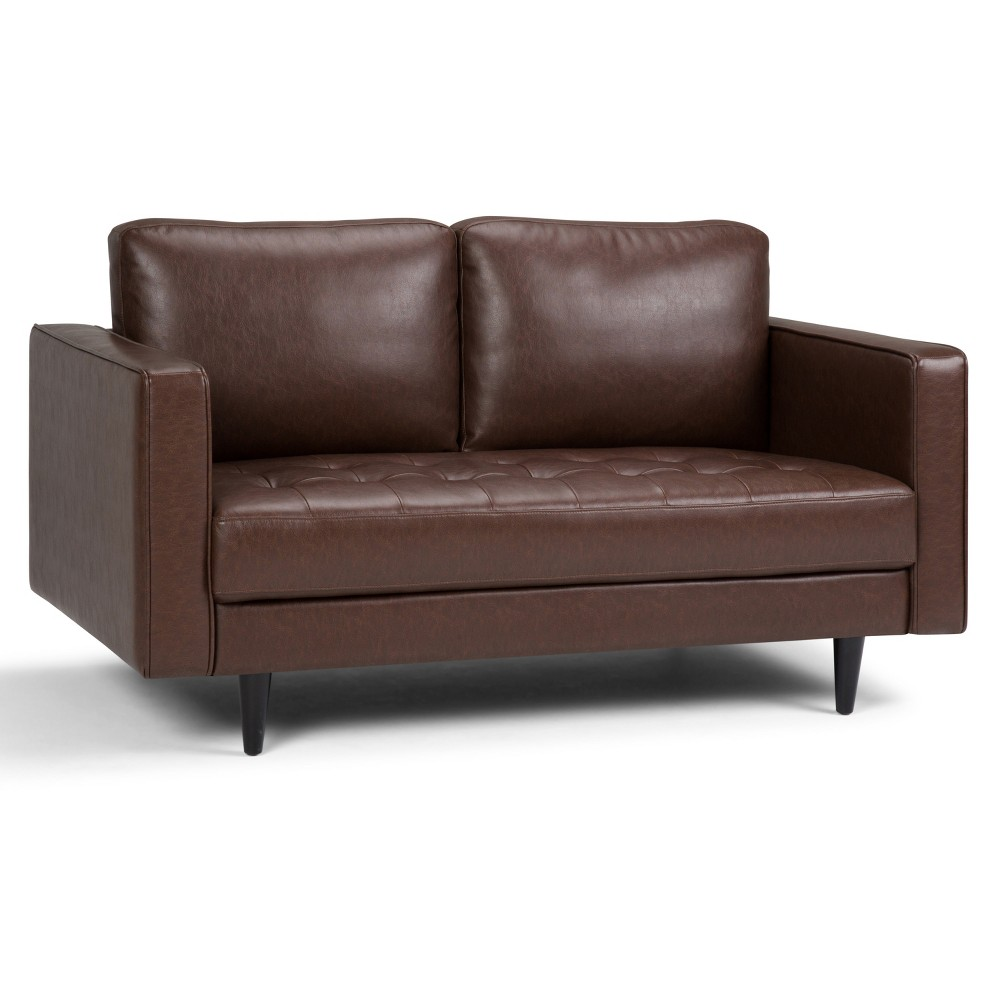 ColLoveseat Distressed Cognac Faux Air Leather - Wyndenhall