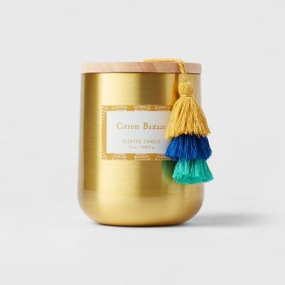 13oz Global Lidded Metal/Wood Tassel Citron Bazaar Candle - Opalhouse™