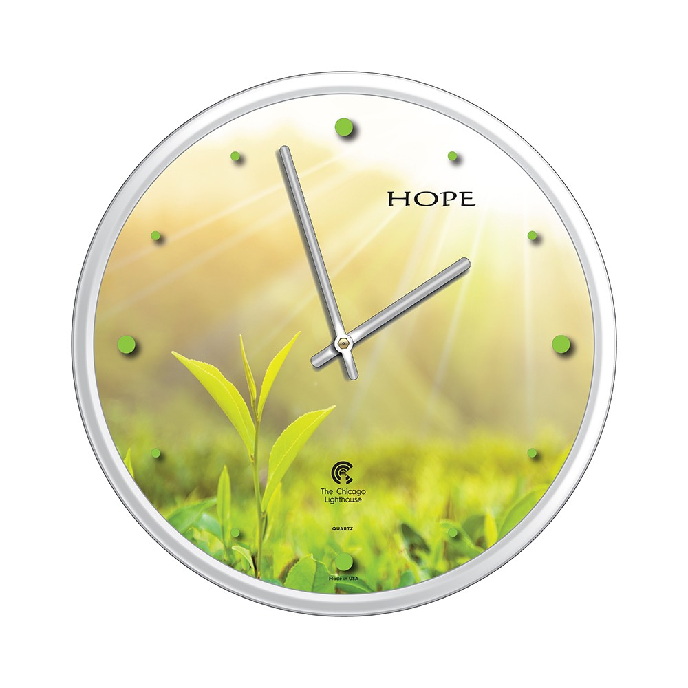 Chicago Lighthouse 12.75x12.75 Tea Leaf Hope Slimline Frame Decorative Wall Clocks White