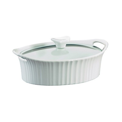 CorningWare French White 1.5qt Oval Ceramic Casserole with Glass Cover