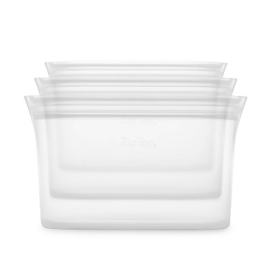 Zip Top Reusable 100% Platinum Silicone Container - 3 Dish Set (S/M/L)- Clear
