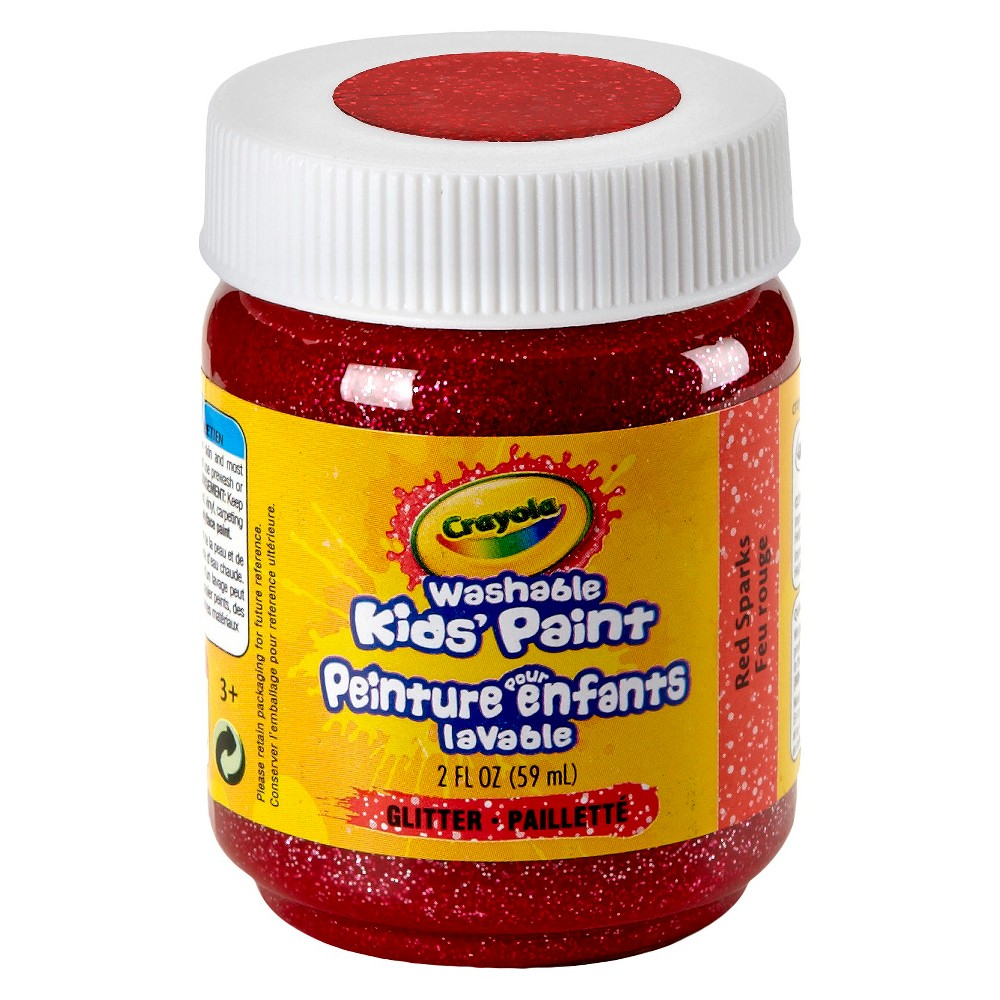 Crayola Washable Kids' Paints, Classic & Neon Paints, Art Supplies for Kids, 2oz, Red Sparks