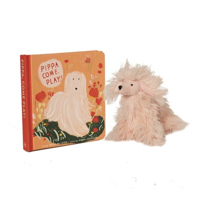 Manhattan Toy Pippa, Come Play! Baby and Toddler Board Book + Afghan Hound Stuffed Animal Dog Gift Set