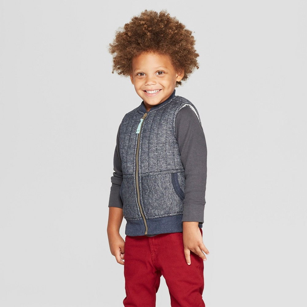 Image of Genuine Kids from OshKosh Toddler Boys' Herringbone Knit Vest - Navy 12M, Toddler Boy's, Blue