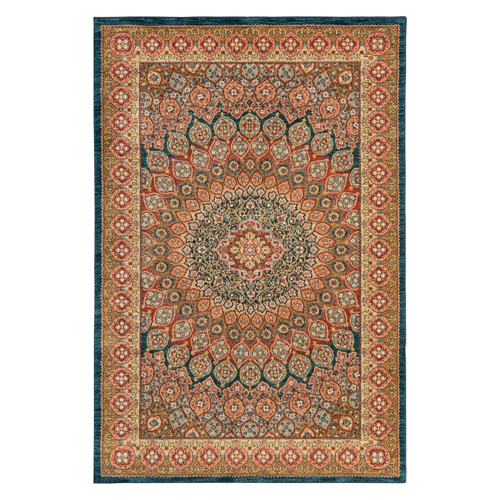 "Image of ""9'6""""x12'11"""" Floral Woven Area Rug Turquoise - Karastan, Blue"""