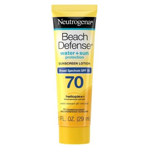 bbf32aa37 Neutrogena Beach Defense Broad Spectrum Sunscreen Lotion - SPF 70 - 1 Fl Oz  : Target