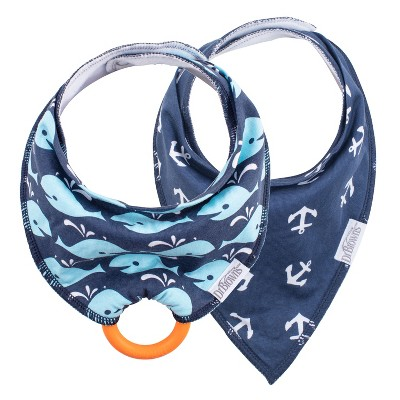 Dr. Brown's Bandana Bib 2pk with Removable Silicone Teether - Navy Whales/Anchors
