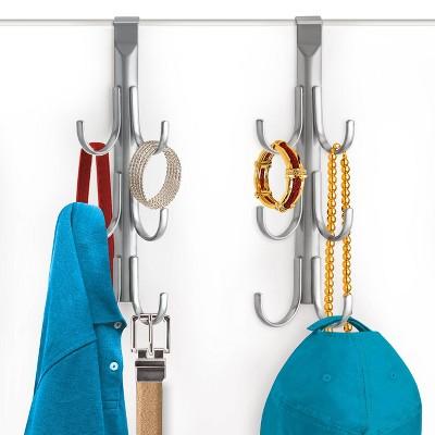 Lynk Over Door Hook Rack Jewelry Organizer Vertical 6 Hook Rack - Platinum