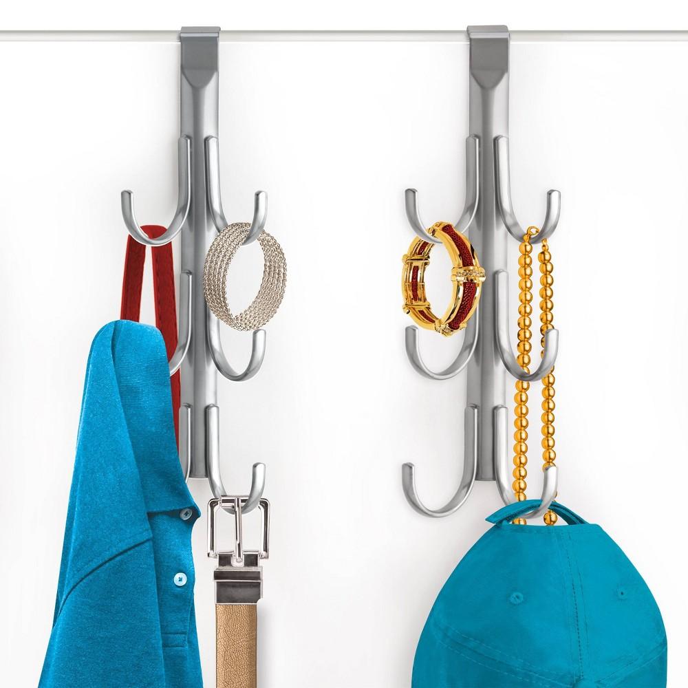 Image of Lynk Over Door Hook Rack Jewelry Organizer Vertical 6 Hook Rack - Platinum