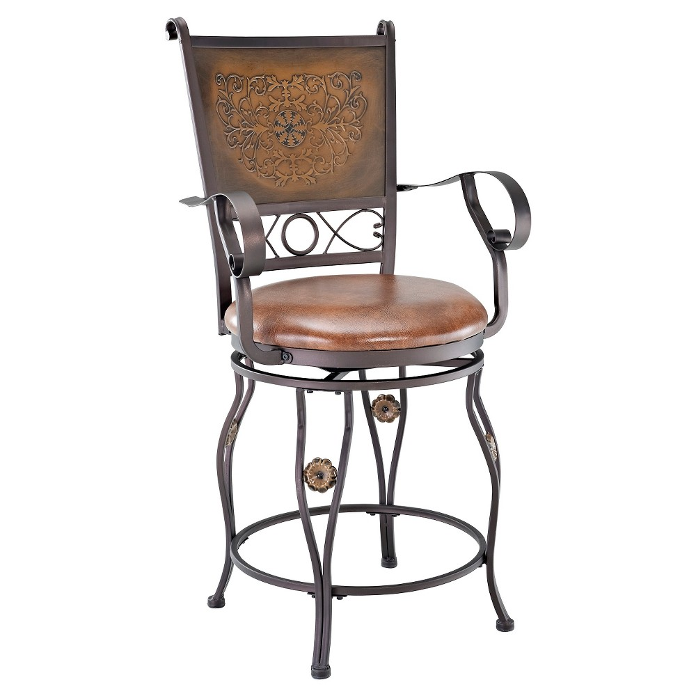 "Image of ""24"""" Eli Big & Tall Copper Stamped Counter Stool - Powell Company, Brown"""