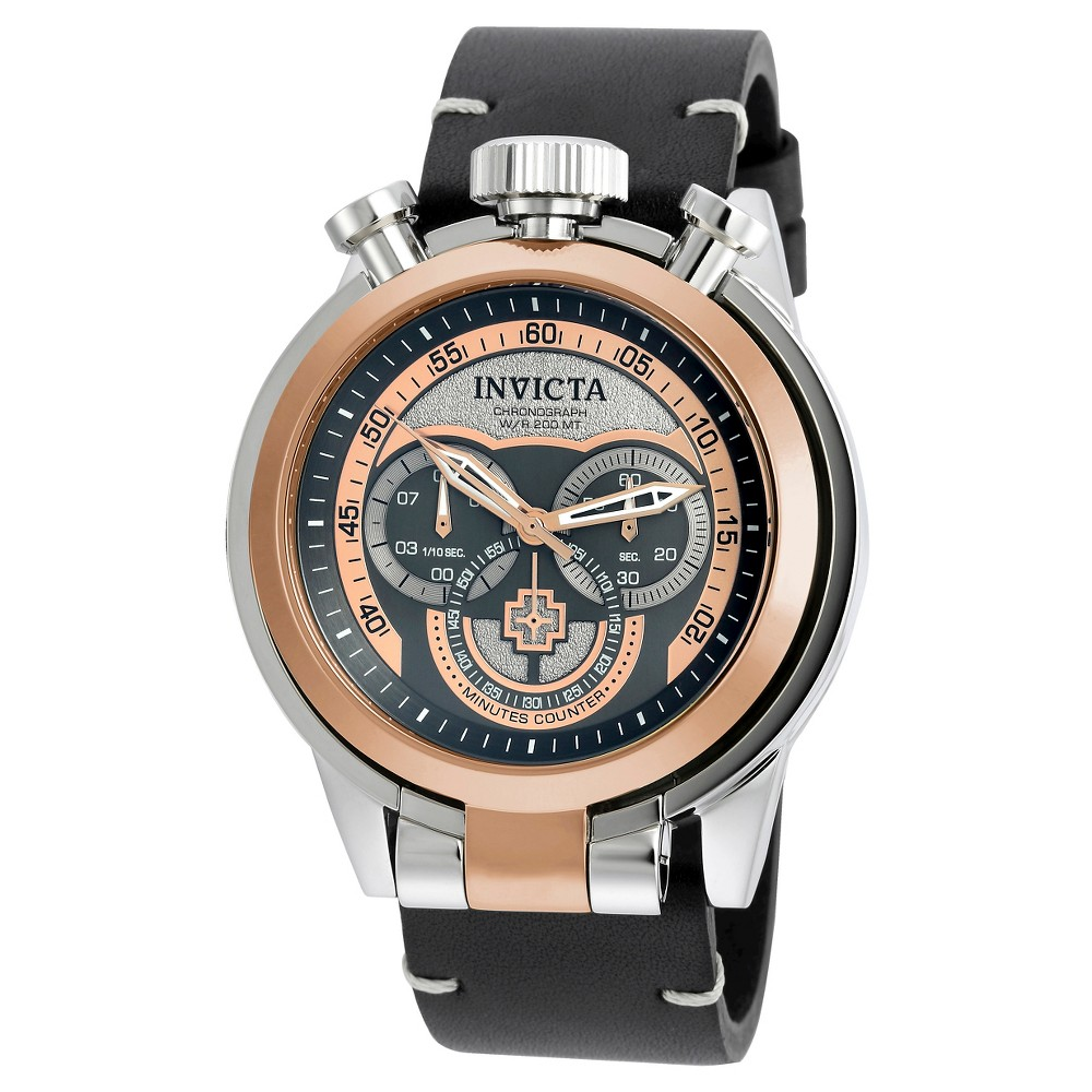 Men's Invicta 18769 I-Force Quartz Multifunction Rose Gold Dial Strap Watch - Black