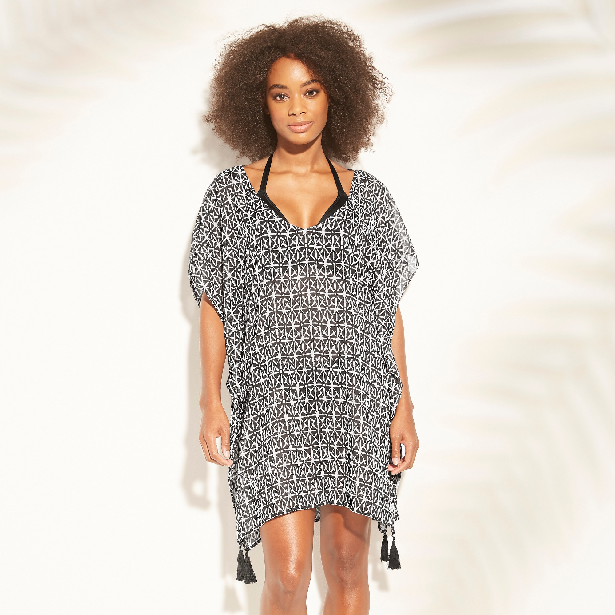Women's Lattice Back Chiffon Kaftan Cover Up Dress - Kona Sol Black Print M, Black/White