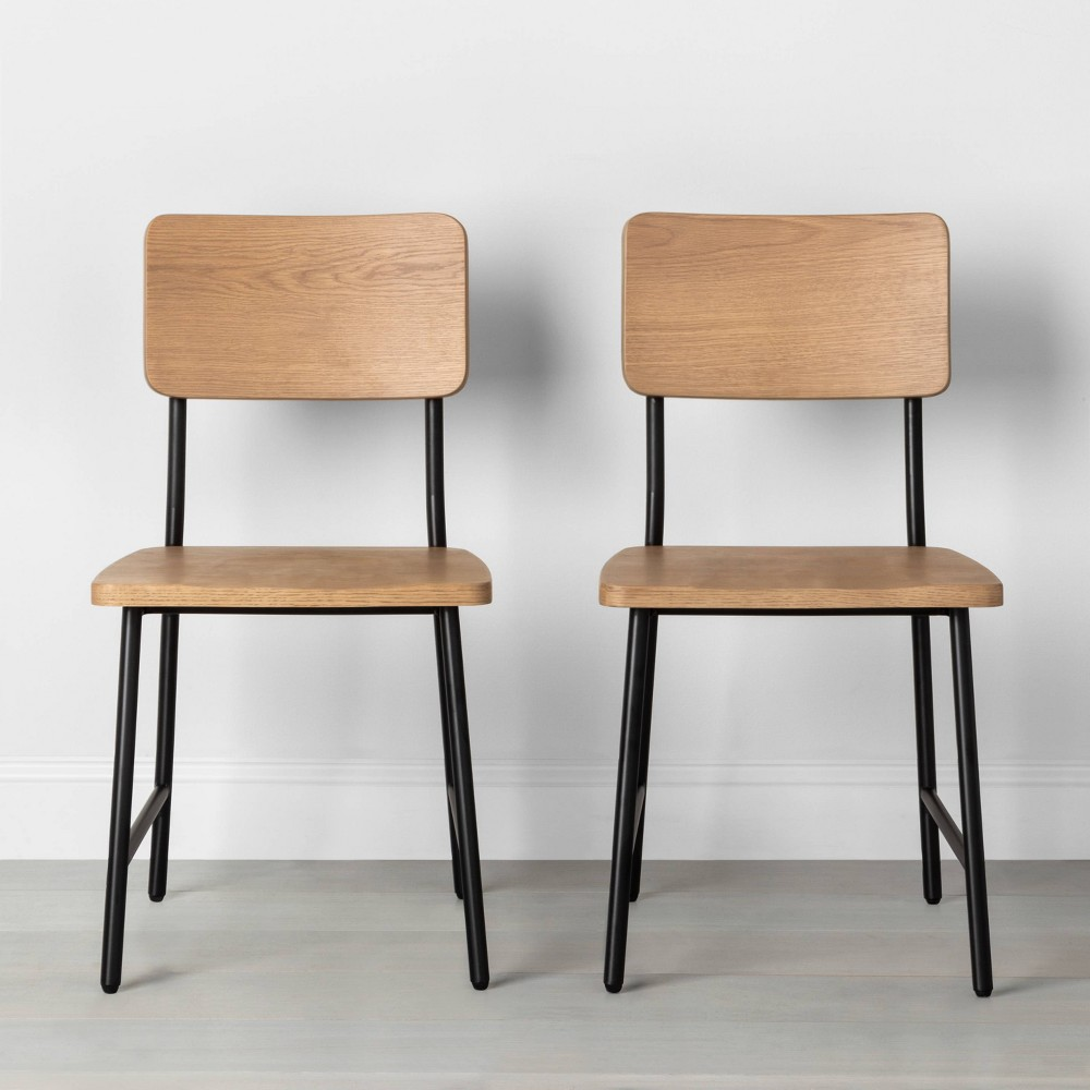 Image of Set of 2 Wood & Steel Dining Chair Black - Hearth & Hand with Magnolia