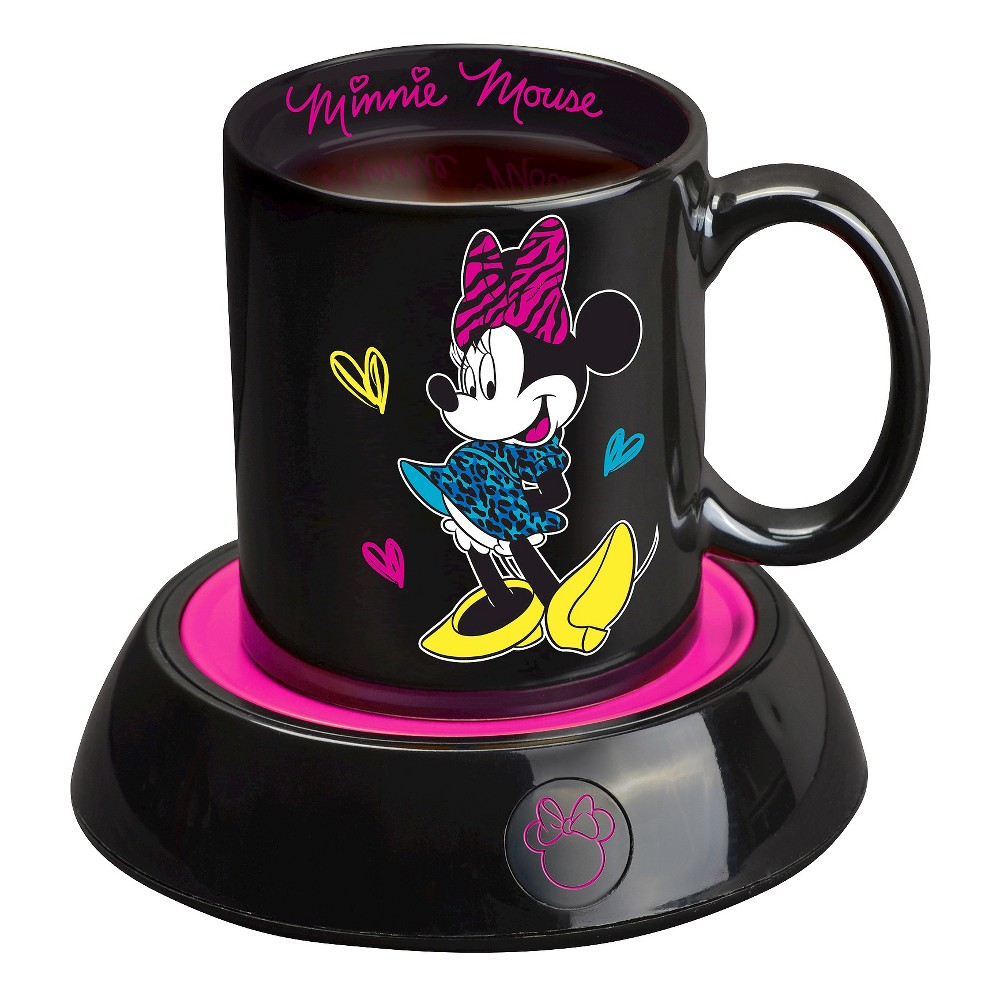 Disney Minnie Mouse Mug Warmer, Black/Pink Keep your coffee or tea at just the right temperature with this Minnie Mouse Mug Warmer. Perfect for home or the office, this mug warmer features a Minnie shaped power light and the 10oz Minnie Mouse mug is included. Color: Black/Pink.