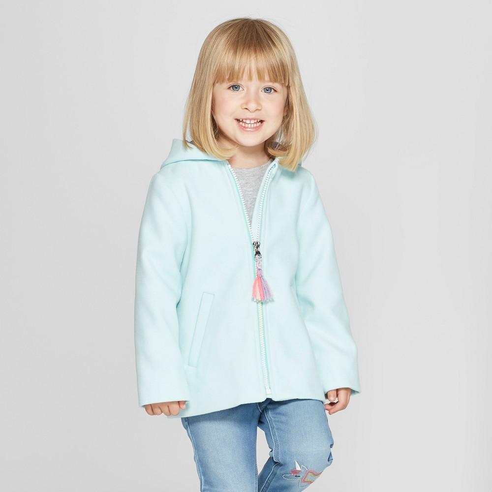 Toddler Girls' Faux Wool Unicorn Overcoat - Cat & Jack Aqua 4T, Blue