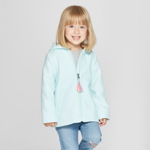 Toddler Girls' Faux Wool Unicorn Overcoat - Cat & Jack™ Aqua - image 1 of 3