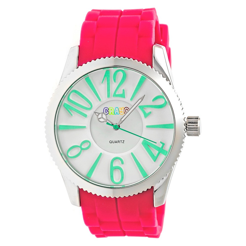 Women's Crayo Magnificent Silicone Strap Watch-Hot Pink, hot pink