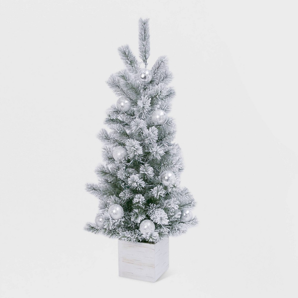 Image of 4ft Lit Holiday Flocked Tree with Ornaments in Wood Box Base Decorative Figurine - Gerson International