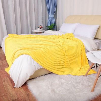 1 Pc Full/Queen Microfiber Long Shaggy Bed Blankets Yellow  - PiccoCasa