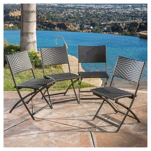 El Paso Set of 4 Wicker Patio Folding Chairs - Brown - Christopher Knight  Home : Target - El Paso Set Of 4 Wicker Patio Folding Chairs - Brown - Christopher