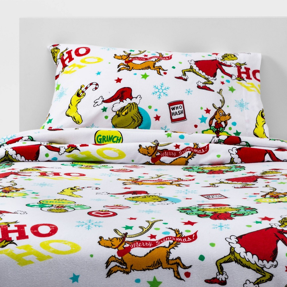 The Grinchfull The Grinch Ho Ho No Flannel Sheet Set Dailymail