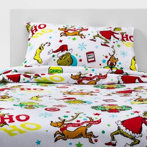 The Grinch Ho Ho No Flannel Sheet Set Target