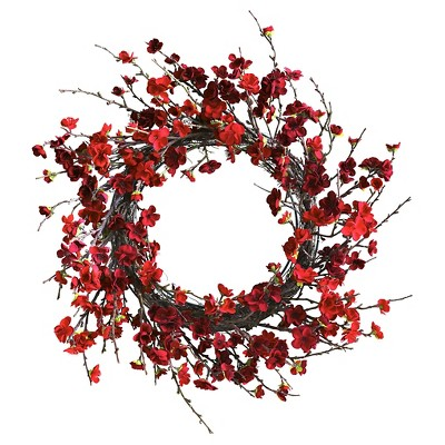 24  Plum Blossom Wreath - Nearly Natural