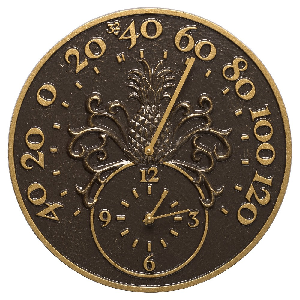 "Image of "".375"""" Pineapple Thermometer Clock - French Bronze - Whitehall Products, Brown"""