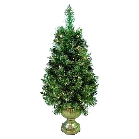 4ft Pre Lit Artificial Christmas Tree Slim Porch Pot Gold Tip Pine Clear Lights