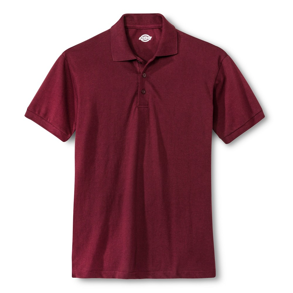 Image of Dickies Men's Pique Uniform Polo Shirt - Burgundy L, Size: Large, Red